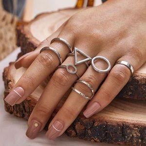 🆕3/$30 6pc silver geometric ring set
